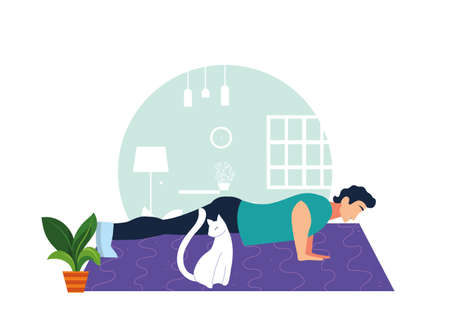 man doing muscle exercises in living room vector illustration design