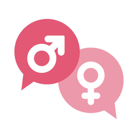 female and male gender inside bubbles flat style icon design, lgtbi pride day sexual orientation and identity theme Vector illustration