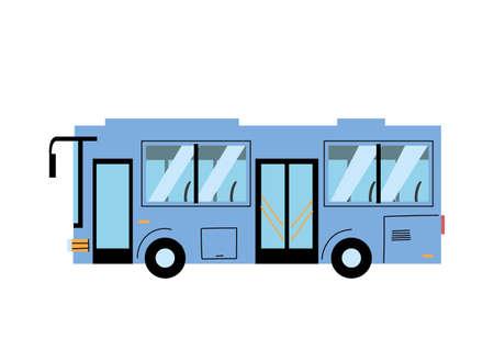 blue modern bus to transport people, public service vector illustration design