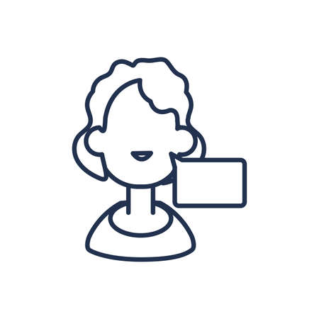 woman with speech bubble , line style icon vector illustration design Иллюстрация