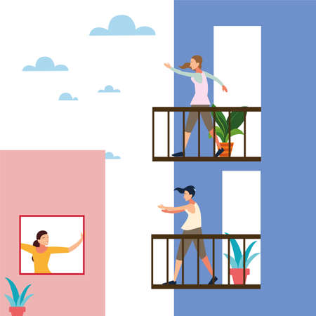 women doing stretching and strength exercises on the balcony of their houses vector illustration design