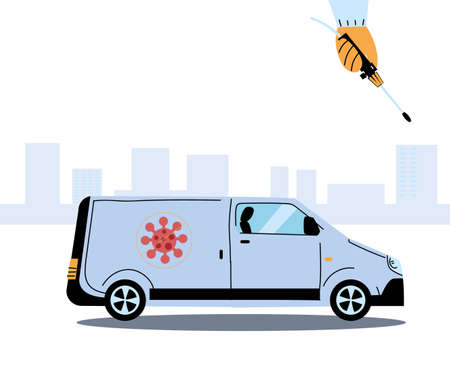 Man wearing protective suit and disinfectant isolated to avoid covid 19, disinfecting van vector illustration design