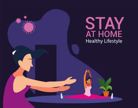 women doing stretching exercises at home to avoid virus vector illustration design
