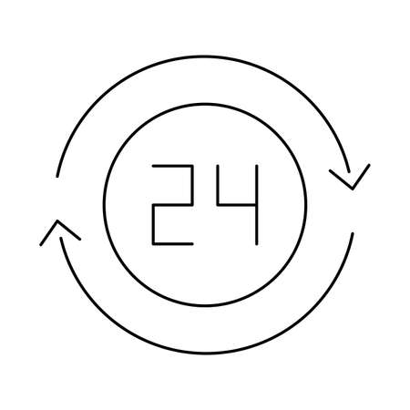 open around the clock, 24 hours , line style icon vector illustration design Illusztráció