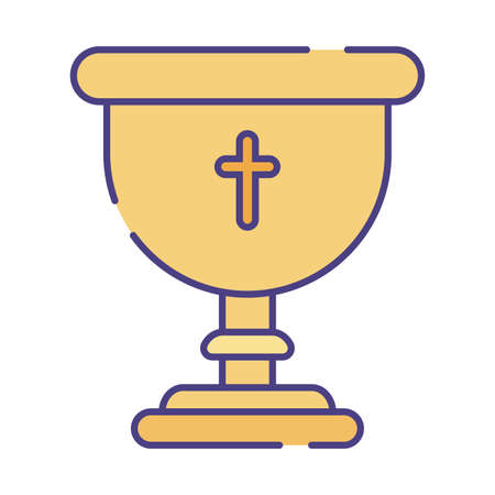 cross inside cup flat style icon design, Religion culture belief religious faith god spiritual meditation and traditional theme Vector illustration