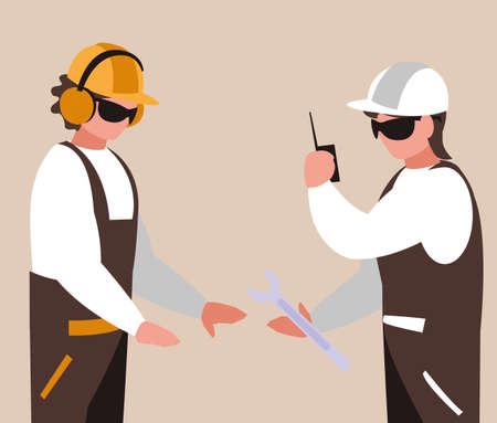 couple of men builders working vector illustration design