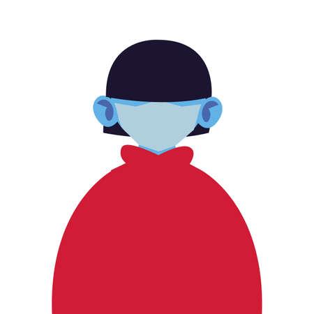 portrait of man with medical mask on white background vector illustration design