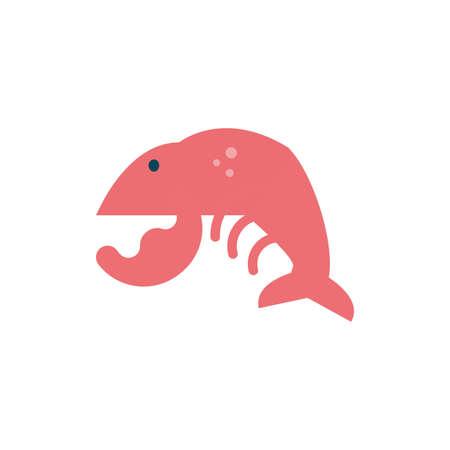 shrimp animal design Sea life ecosystem fauna ocean underwater water nature marine tropical theme Vector illustration