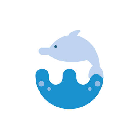 dolphin animal design Sea life ecosystem fauna ocean underwater water nature marine tropical theme Vector illustration