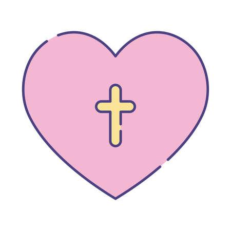 cross inside heart flat style icon design, Religion culture belief religious faith god spiritual meditation and traditional theme Vector illustration