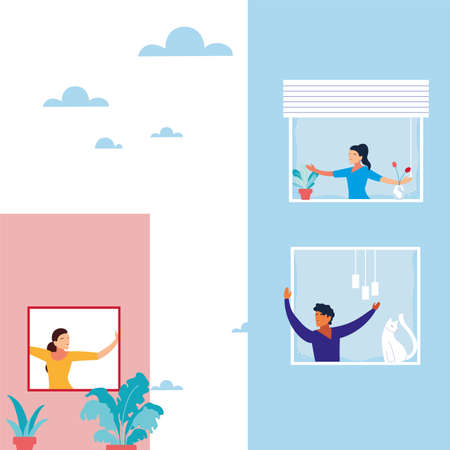 people at the window doing dance exercises at home vector illustration design  イラスト・ベクター素材