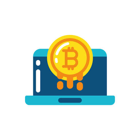 Bitcoin and laptop design of Cryptocurrency money currency exchange financial bank web internet market electronic finance and net theme Vector illustration
