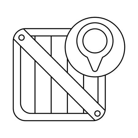 wooden box with pointer of location , line style icon vector illustration design Ilustração