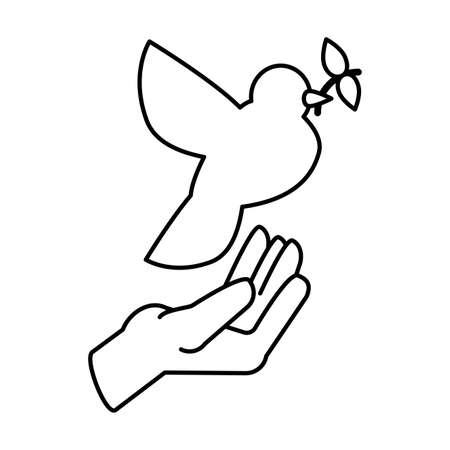 hands holding a dove on white background vector illustration design Ilustrace
