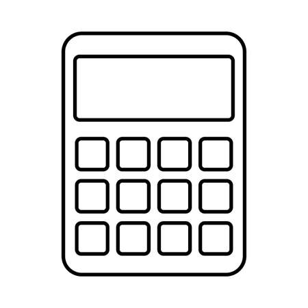 Calculator line style icon design, Mathematics finance device electronic education office object and accounting theme Vector illustration Ilustração