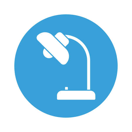 Desk lamp block style icon design, Home office object light electric device power electricity tool and instrument theme Vector illustration
