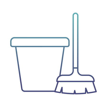 bucket and brush degraded line style icon design, Cleaning service wash home and hygiene theme Vector illustration Vektoros illusztráció
