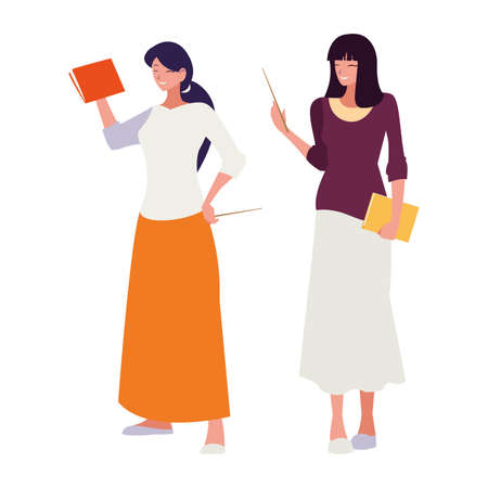 female teachers couple with textbooks characters vector illustration design