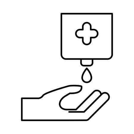 Hand with soap dispenser line style icon design, Hygiene wash health and clean theme Vector illustration