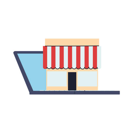 stores with location on screen vector illustration desing