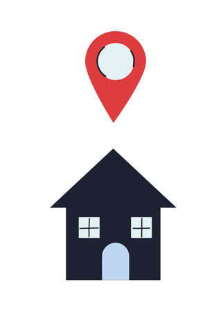 houses with location device for delivery vector illustration design