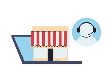 stores with location on screen vector illustration design Stock Illustratie