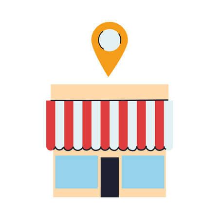 store with merchandise and location vector illustration desing