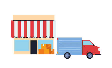 transport of merchandise for stores with location vector illustration desing