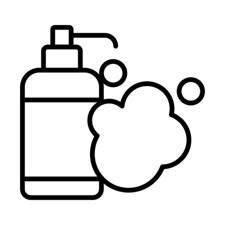 dispensing bottle, soft liquid soap bottle , liquid soap , line style icon vector illustration design
