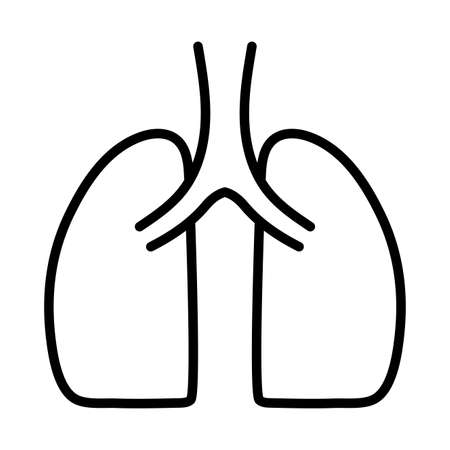 human lungs, human internal organ, respiratory system, line style icon vector illustration design