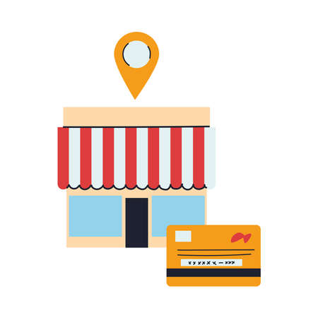 store with merchandise and location vector illustration design Vectores