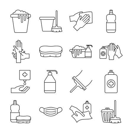 line style icon set design, Cleaning service and covid 19 virus theme Vector illustration
