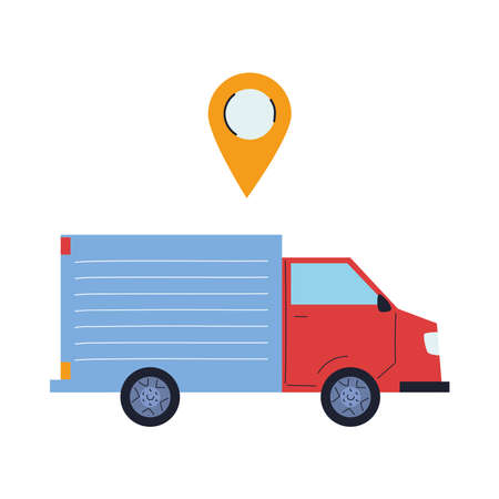transport of merchandise for stores with location vector illustration design