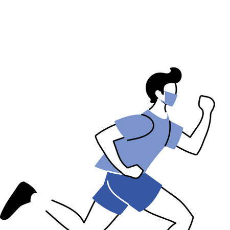 man with masks doing exercise vector illustration design Illusztráció
