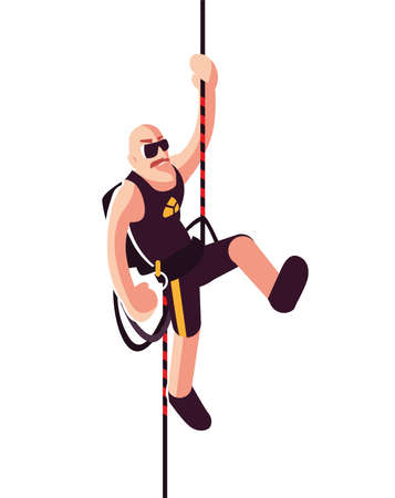 strong man climbing up the rope vector illustration design