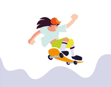 young man playing sport on skateboard vector illustration desing