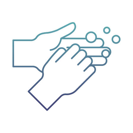 Hands washing with soap degraded line style icon design, Hygiene wash health and clean theme Vector illustration