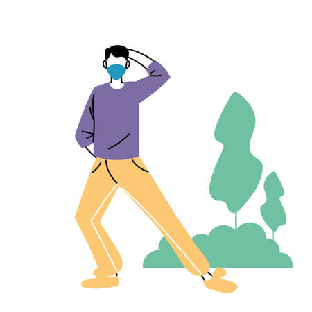 man with masks doing exercise vector illustration desing