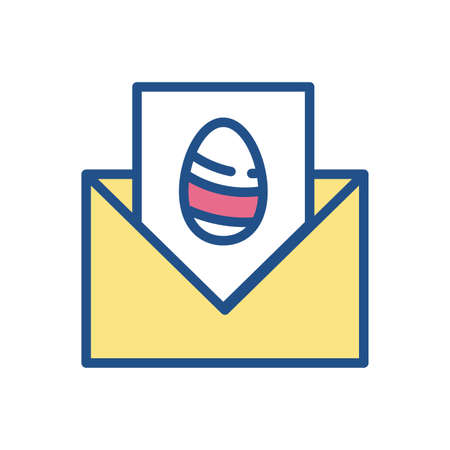 envelope with easter egg icon over white background, colorful and line style design, vector illustration