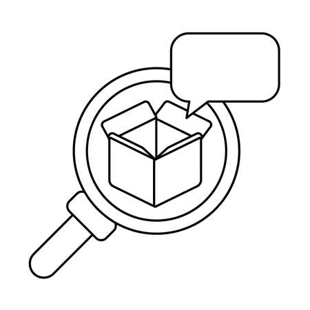 magnifying glass with cardboard box open , line style icon vector illustration design