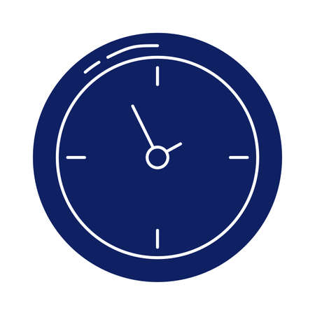 wall clock, silhouette style icon vector illustration design