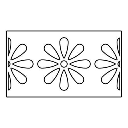 Flowers inside label design, floral nature plant ornament garden decoration and botany theme Vector illustration Vectores