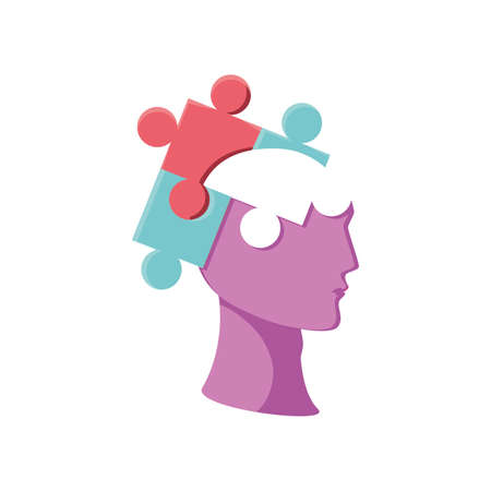 puzzle with brain on white background vector illustration design