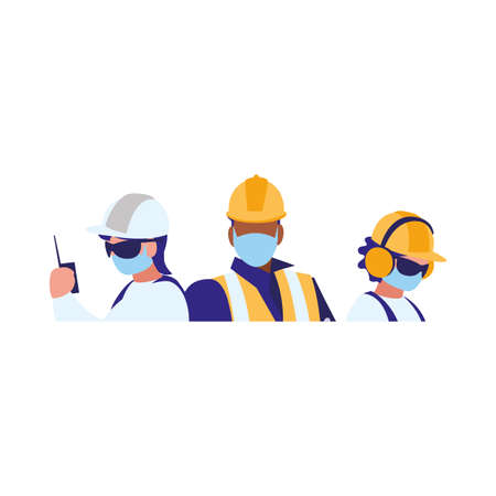 industrial workers men working with face mask vector illustration design 向量圖像