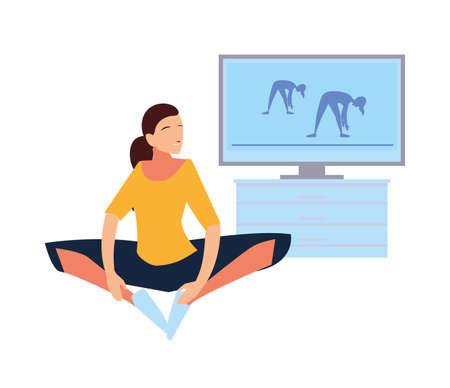 woman doing guided exercises on television vector illustration design