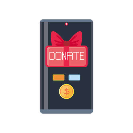 donation from mobile on white background vector illustration design