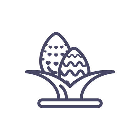 leaves with easter eggs over white background, line style icon, vector illustration Vettoriali