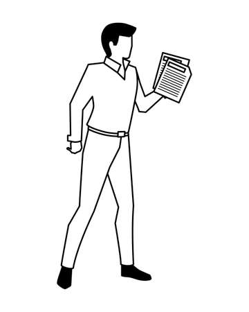 businessman with sheet of paper in hand on white background vector illustration design