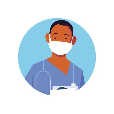man doctor with medical face mask, medical staff on white background vector illustration design