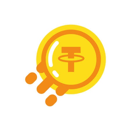 Tether coin design of Cryptocurrency money currency exchange financial bank web internet market electronic finance and net theme Vector illustration
